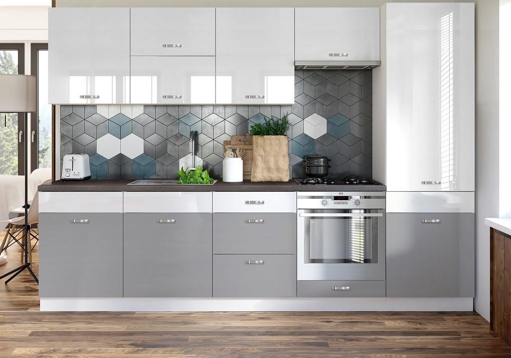Rovná Kuchyně Manhattan - 300 cm (bílá vysoký lesk/šedá vysoký lesk)
