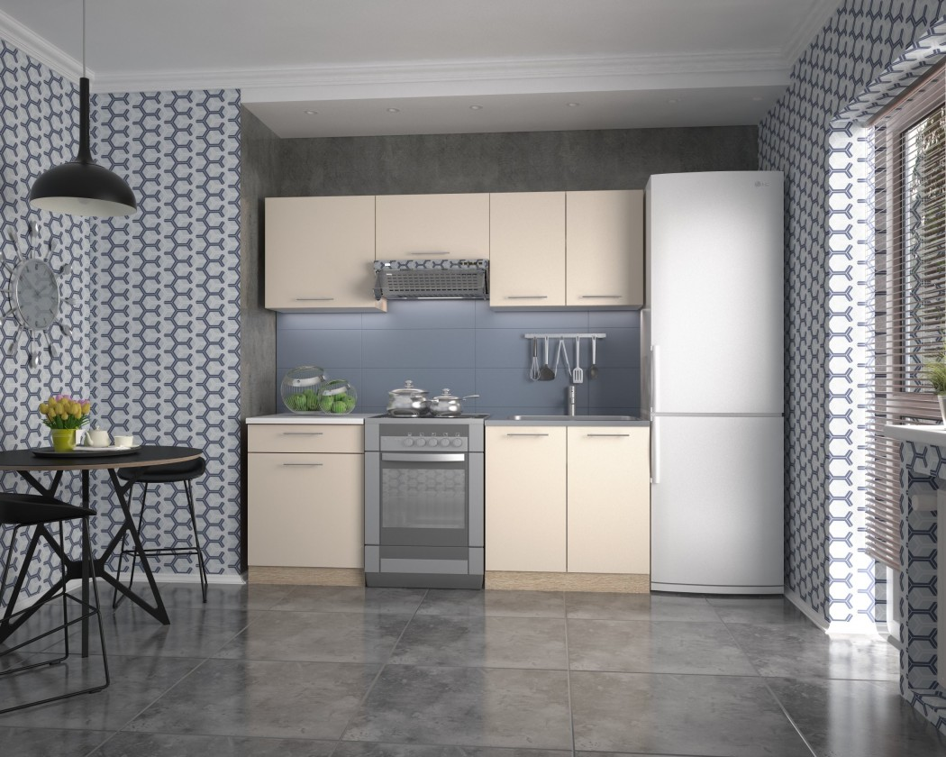 Rovná Kuchyně Marija - 200 cm (vanilka/dub sonoma/bílá)