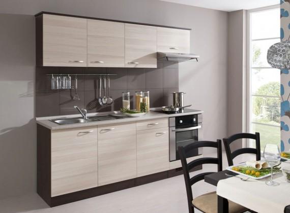 Rovná Kuchyně Nina - 210 cm (dub tmavý/jasan coimbra)