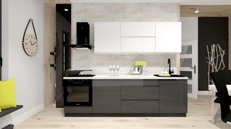 Rovná Kuchyně Nina - 260 cm (bílá vysoký lesk/šedá vysoký lesk)