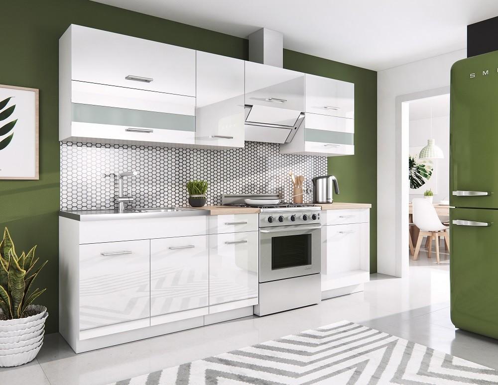 Rovná Kuchyně Rio - 240 cm (bílá vysoký lesk)