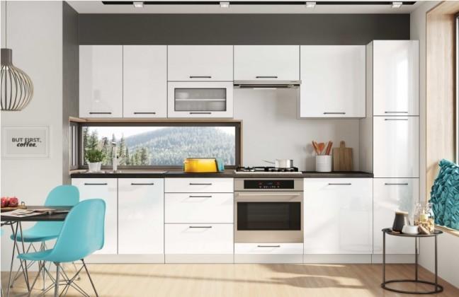 Rovná Kuchyně Roxy - 300 cm (bílá vysoký lesk/černá)