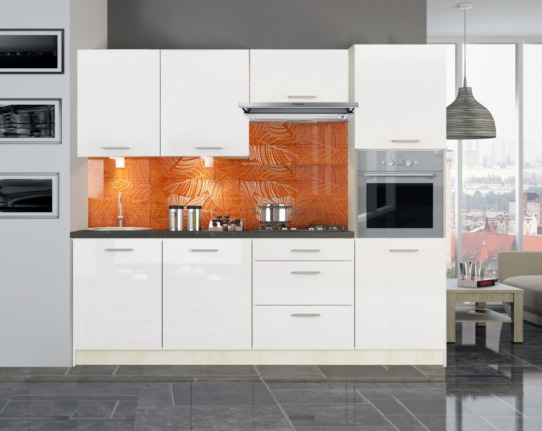 Rovná Kuchyňská linka Emilia - 240cm (bílá lesk,PD travertin tmavý)