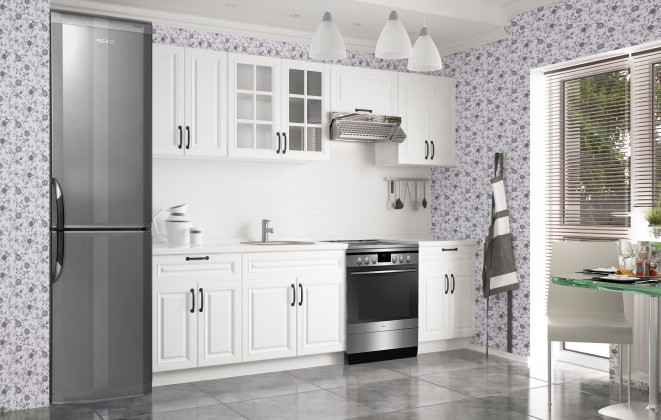 Rovná Kuchyňská linka Michelle - 200/260 cm (bílá/černá úchytka)