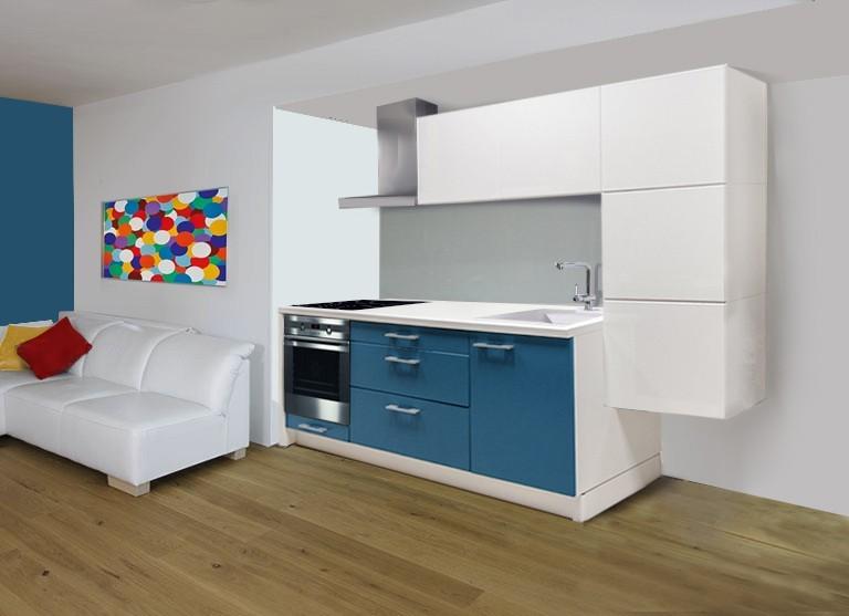 Rovná Laguna - kuchyňský blok, 2,74m (bílá HG/lagunově modrá mat)