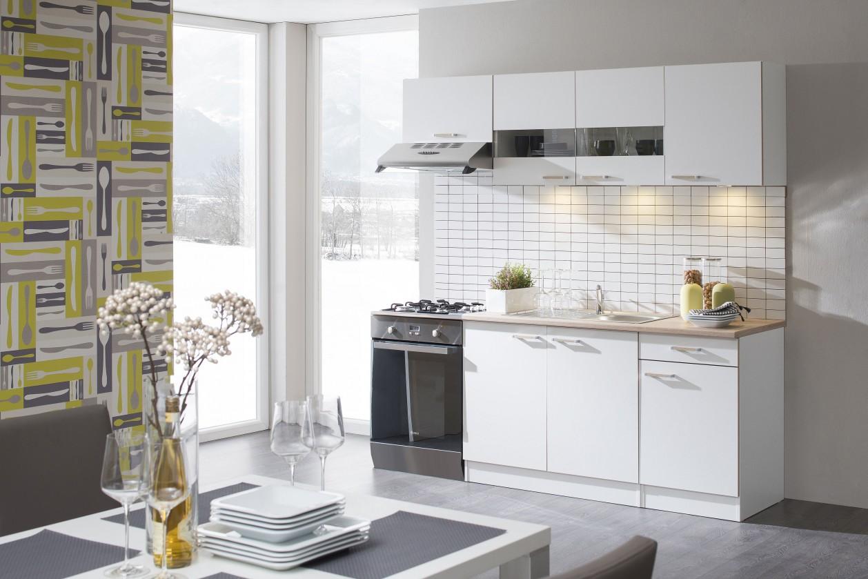 Rovná Lela - Kuchyňský blok 210 A (bílá/bardolino/dub bardolino)