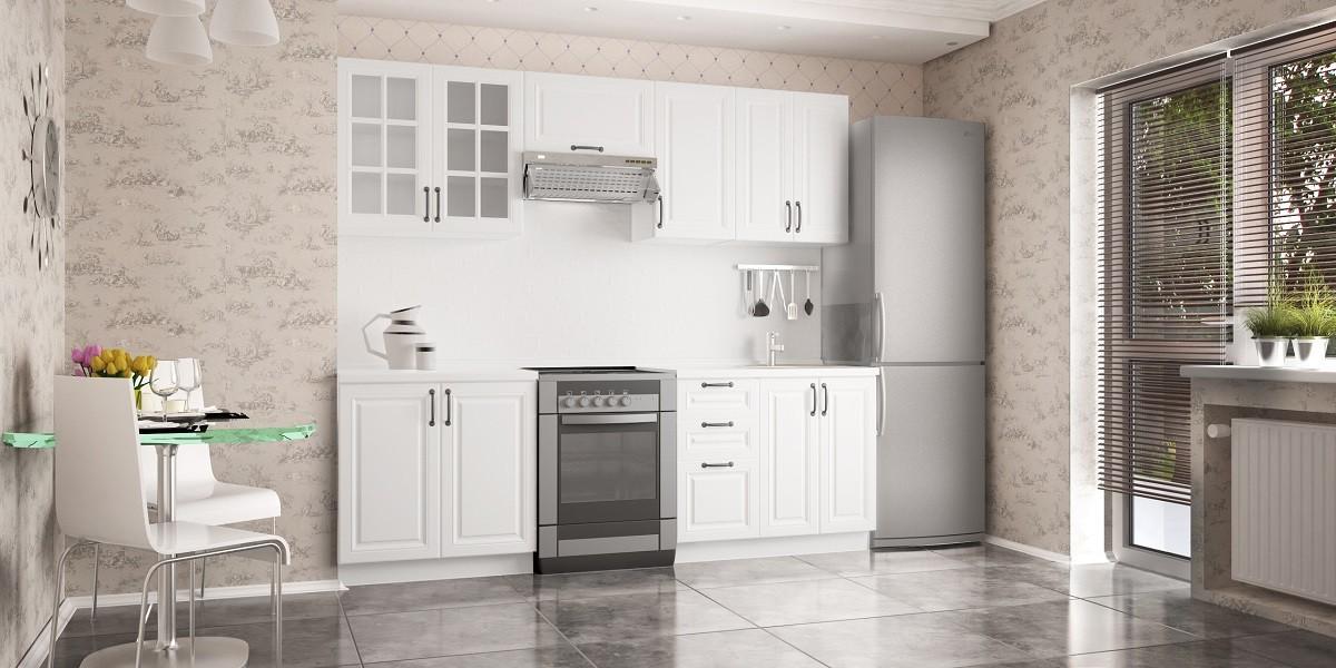 Rovná Michelle - Kuchyňský blok, 180/240 cm (bílá,černá úchytka)