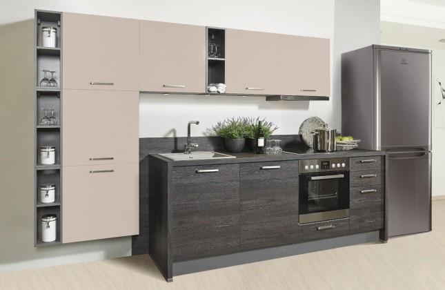 Rovná Misano - Kuchyně 280/320cm (krémová, dub černý)