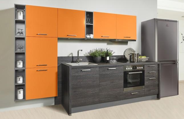 Rovná Misano - Kuchyně 280/320cm (oranžová, dub černý)