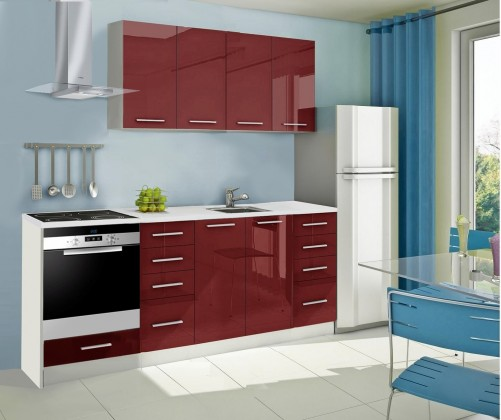 Rovná Mondeo - kuchyňský blok A 160/220 cm (pracovní deska - mramor)