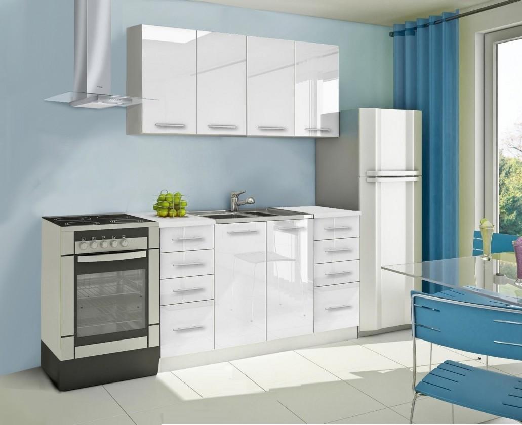 Rovná Mondeo - Kuchyňský blok A, 160 cm (bílá, lesk)