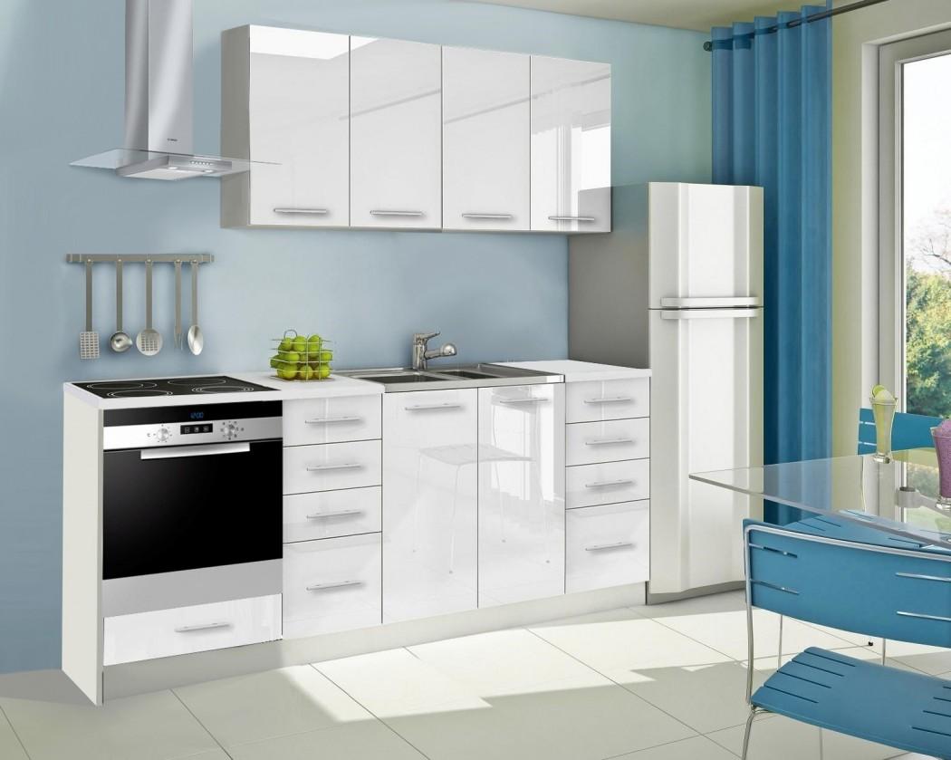 Rovná Mondeo - Kuchyňský blok A, 220 cm (bílá, lesk)
