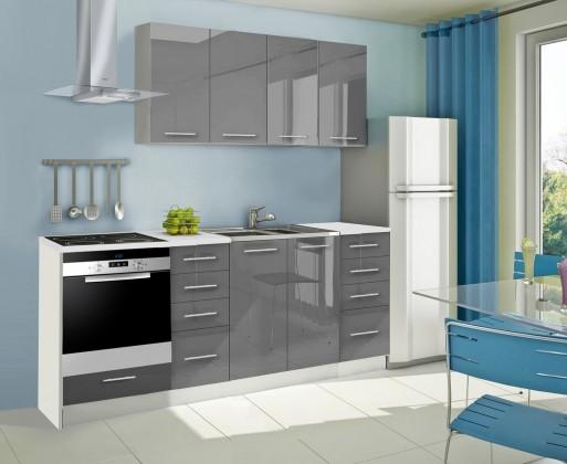 Rovná Mondeo - Kuchyňský blok A, 220 cm (šedá, lesk)
