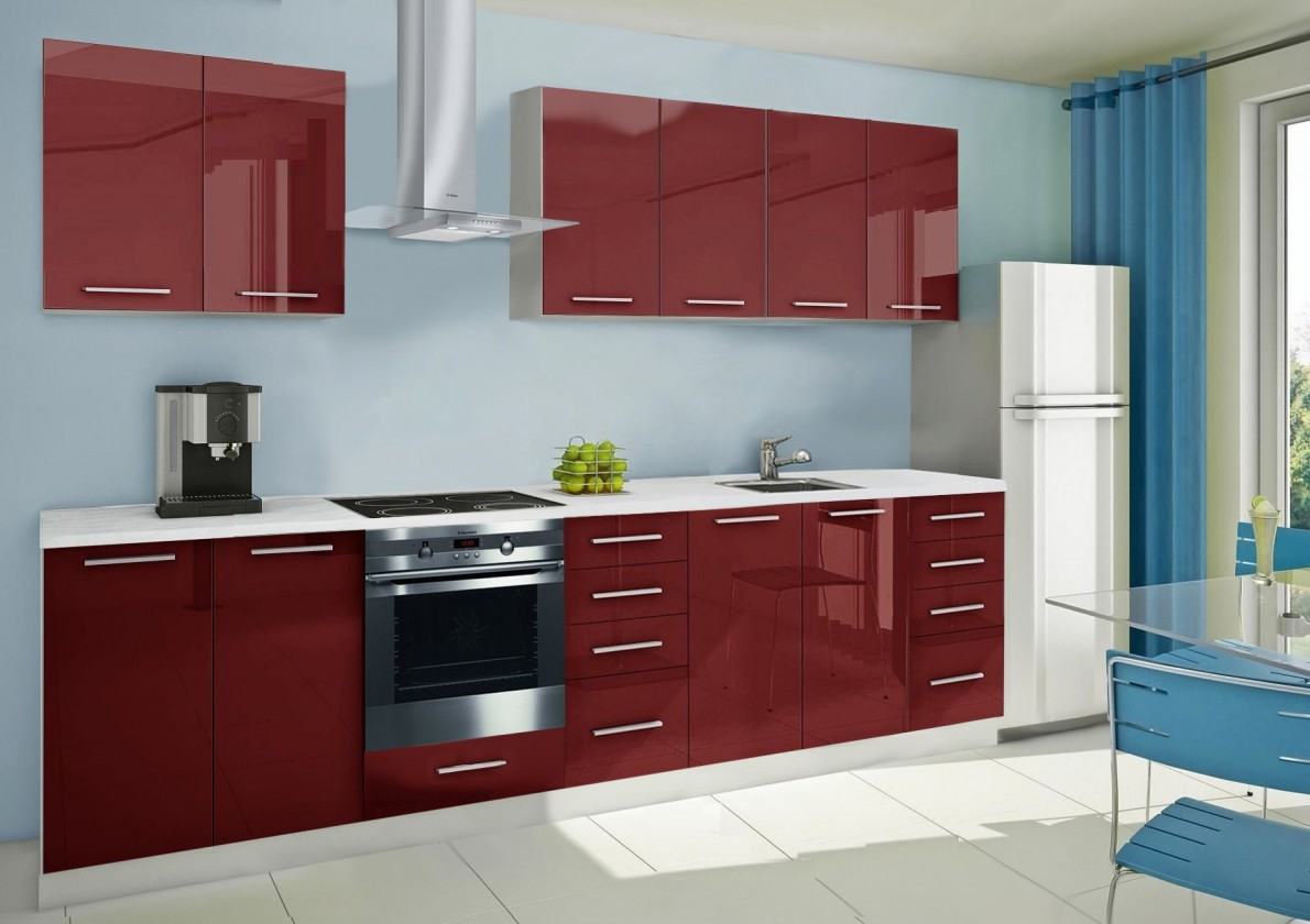 Rovná Mondeo - kuchyňský blok A 240/300 cm (pracovní deska - mramor)