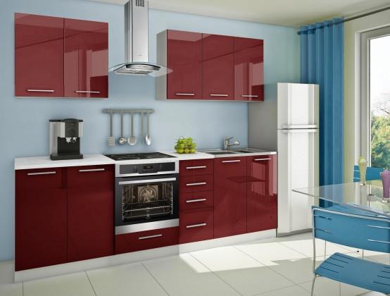 Rovná Mondeo - Kuchyňský blok A, 260 cm (červená, lesk)