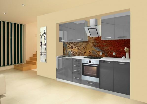 Rovná Mondeo - Kuchyňský blok A, 260 cm (šedá, lesk)