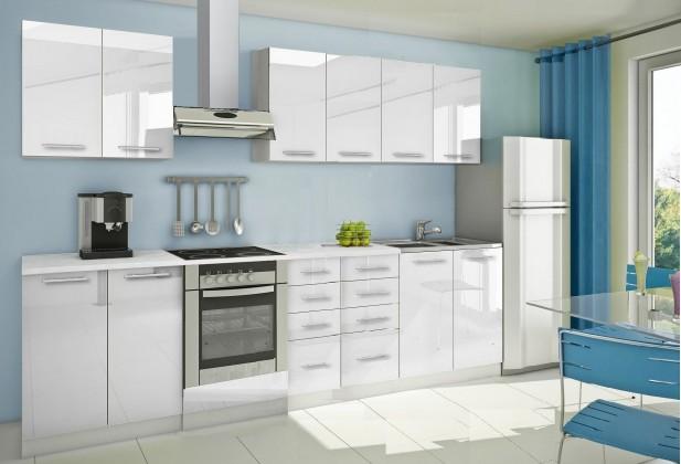 Rovná Mondeo - Kuchyňský blok A, 300 cm (bílá, lesk)