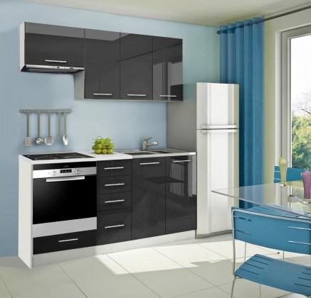 Rovná Mondeo - Kuchyňský blok B, 180 cm (černá, lesk)