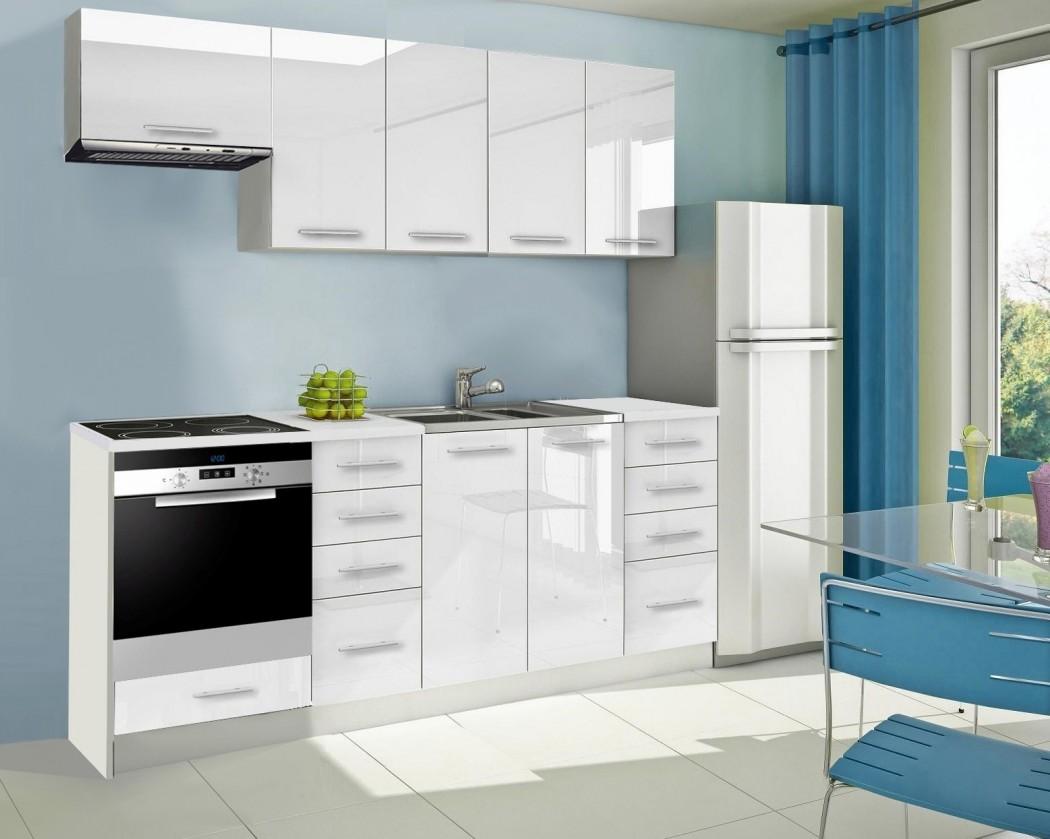 Rovná Mondeo - Kuchyňský blok B, 220 cm (bílá, lesk)