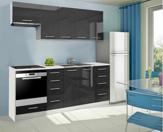 Rovná Mondeo - Kuchyňský blok B, 220 cm (černá, lesk)