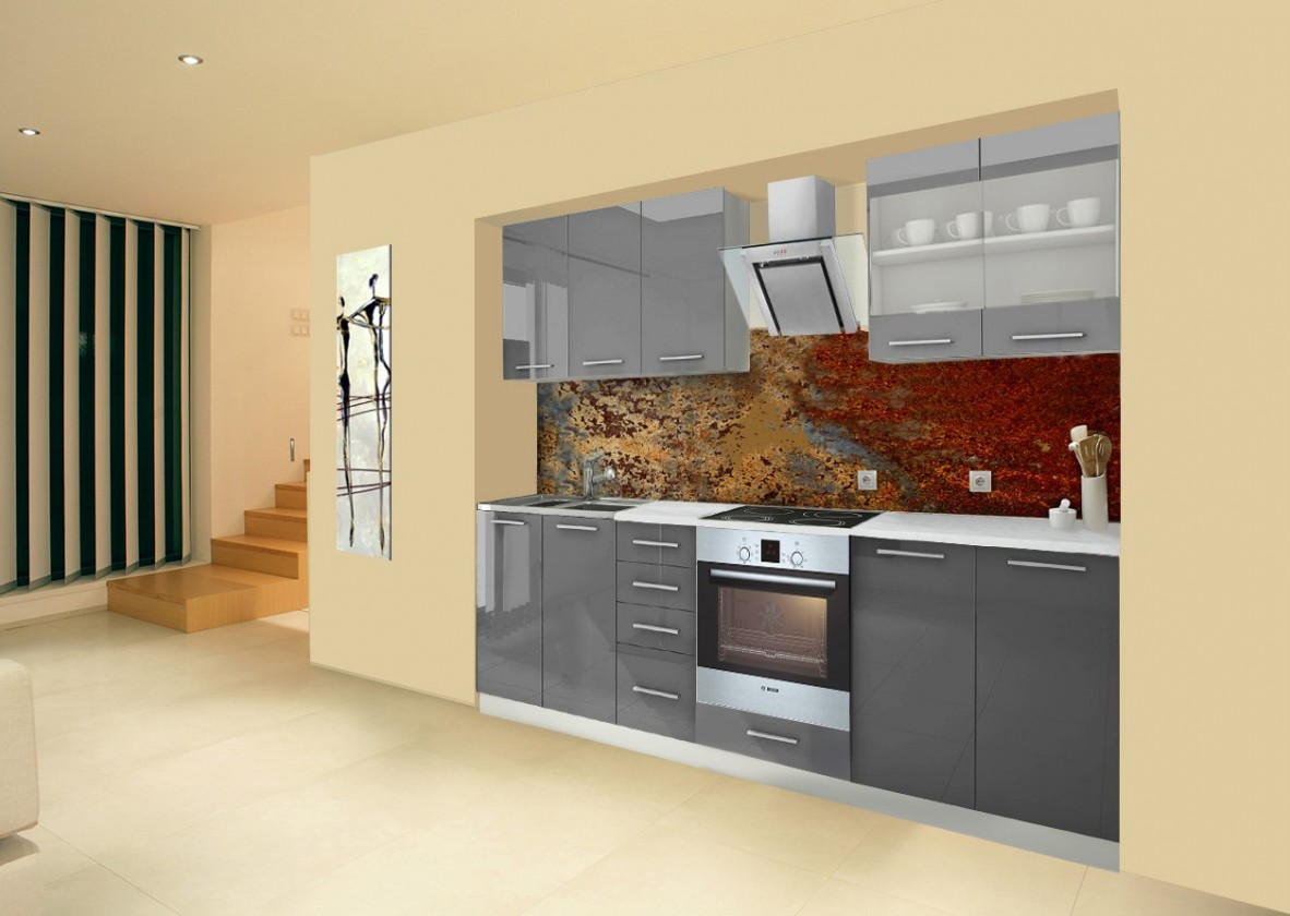 Rovná Mondeo - Kuchyňský blok B, 260 cm (šedá, lesk)