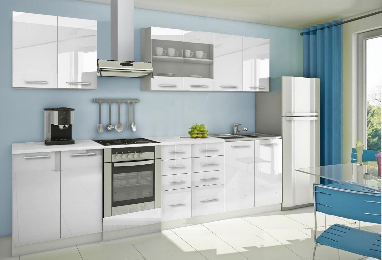 Rovná Mondeo - Kuchyňský blok B, 300 cm (bílá, lesk)