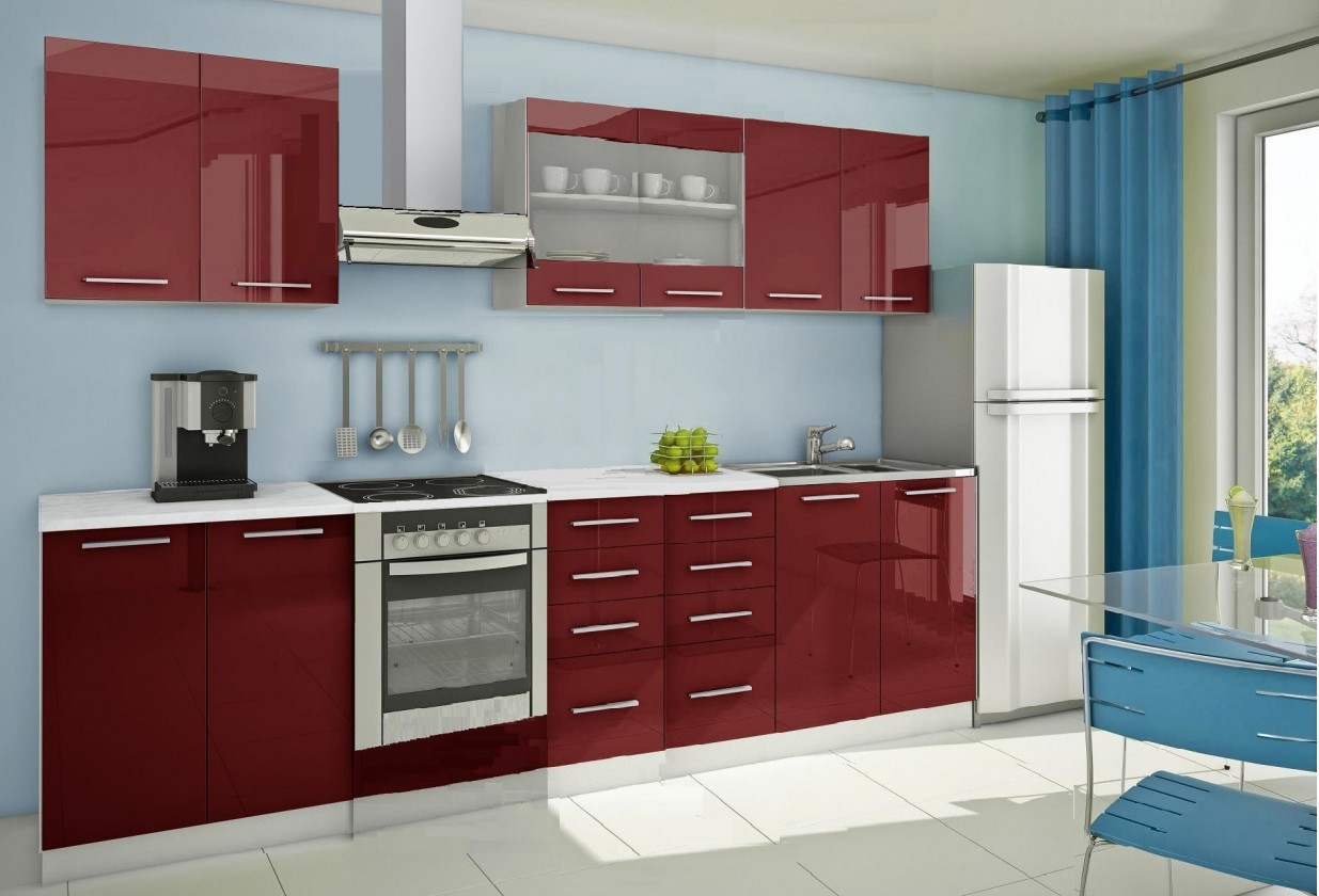 Rovná Mondeo - Kuchyňský blok B, 300 cm (červená, lesk)