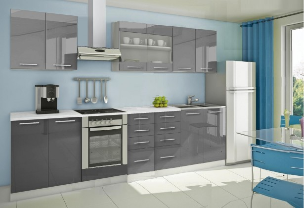 Rovná Mondeo - Kuchyňský blok B, 300 cm (šedá, lesk)