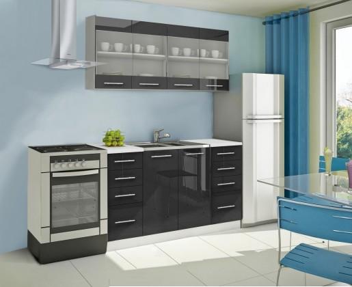 Rovná Mondeo - Kuchyňský blok C, 160 cm (černá, lesk)