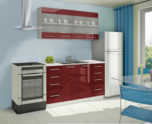 Rovná Mondeo - Kuchyňský blok C, 160 cm (červená, lesk)
