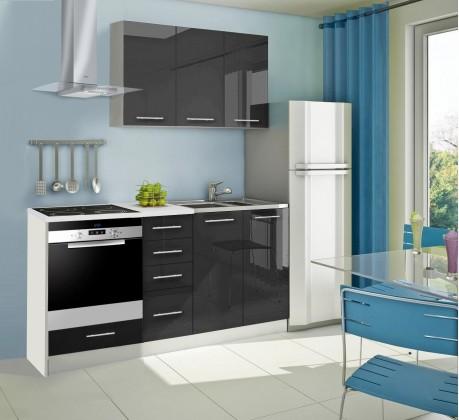 Rovná Mondeo - Kuchyňský blok C, 180 cm (černá, lesk)