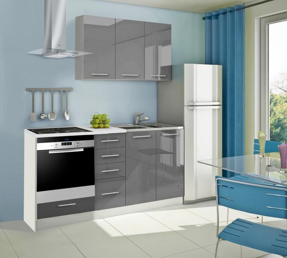 Rovná Mondeo - Kuchyňský blok C, 180 cm (šedá, lesk)