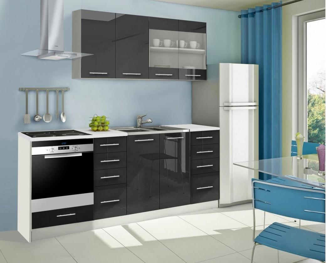 Rovná Mondeo - Kuchyňský blok C, 220 cm (černá, lesk)