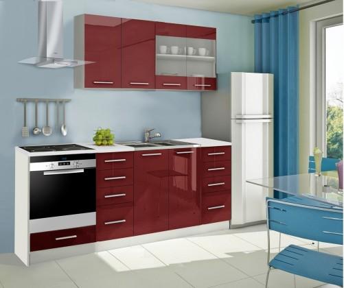 Rovná Mondeo - Kuchyňský blok C, 220 cm (červená, lesk)
