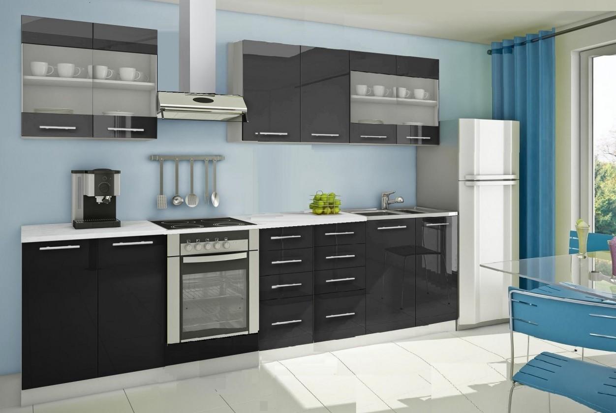 Rovná Mondeo - Kuchyňský blok C, 300 cm (černá, lesk)