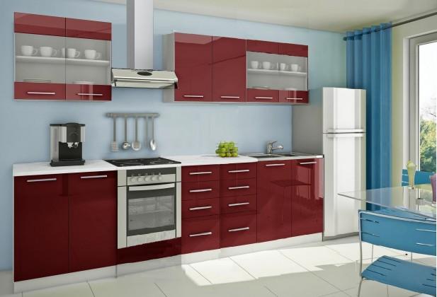 Rovná Mondeo - Kuchyňský blok C, 300 cm (červená, lesk)