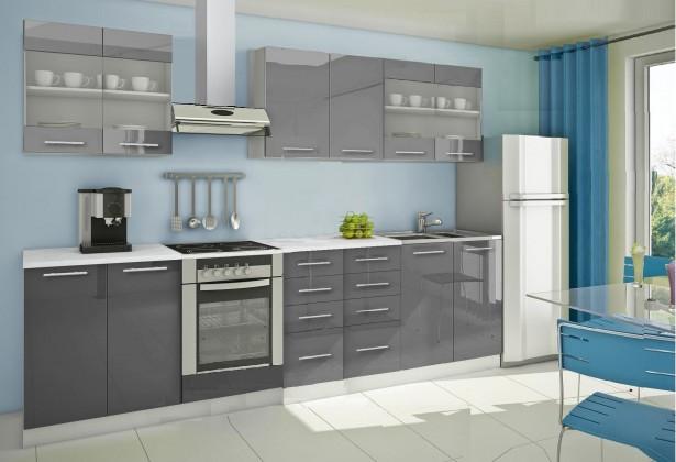 Rovná Mondeo - Kuchyňský blok C, 300 cm (šedá, lesk)