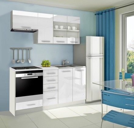 Rovná Mondeo - Kuchyňský blok D, 180 cm (bílá, lesk)