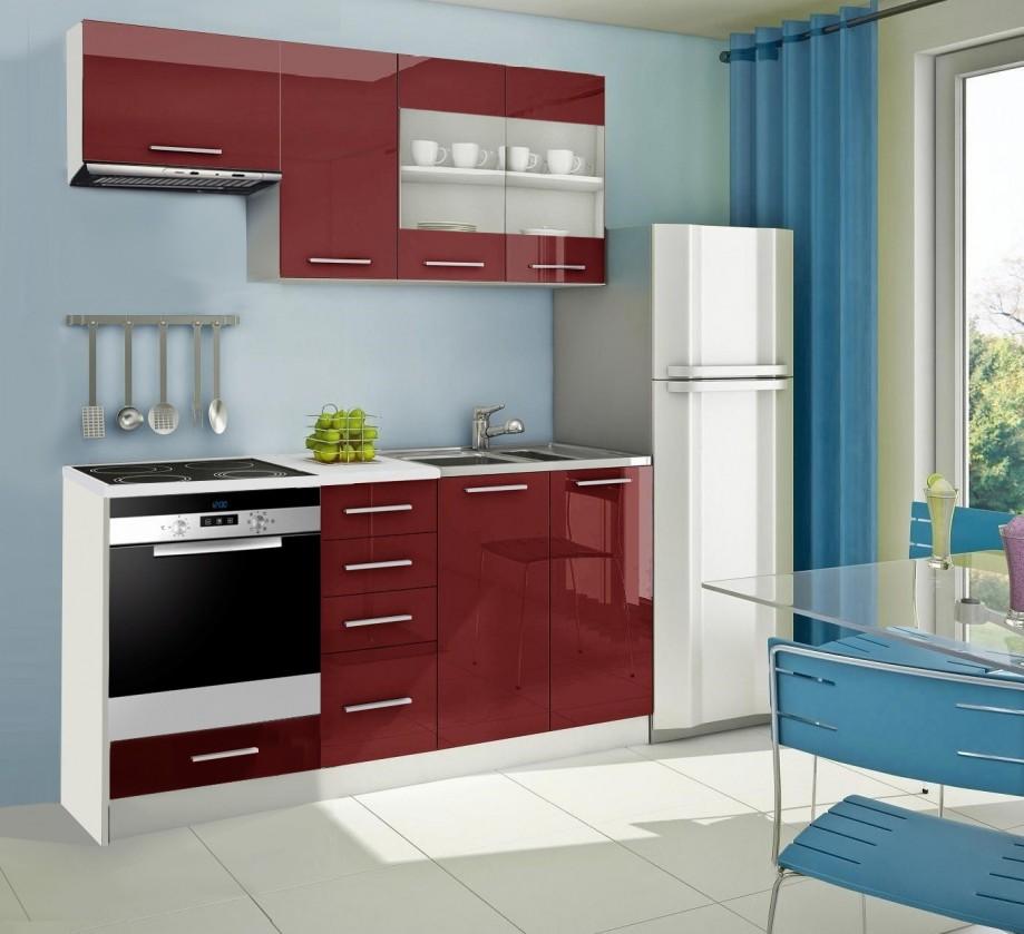 Rovná Mondeo - Kuchyňský blok D, 180 cm (červená, lesk)