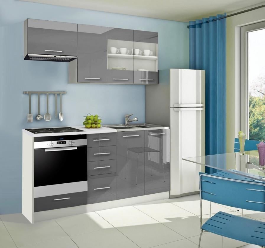 Rovná Mondeo - Kuchyňský blok D, 180 cm (šedá, lesk)