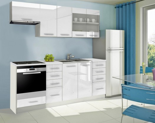 Rovná Mondeo - Kuchyňský blok D, 220 cm (bílá, lesk)