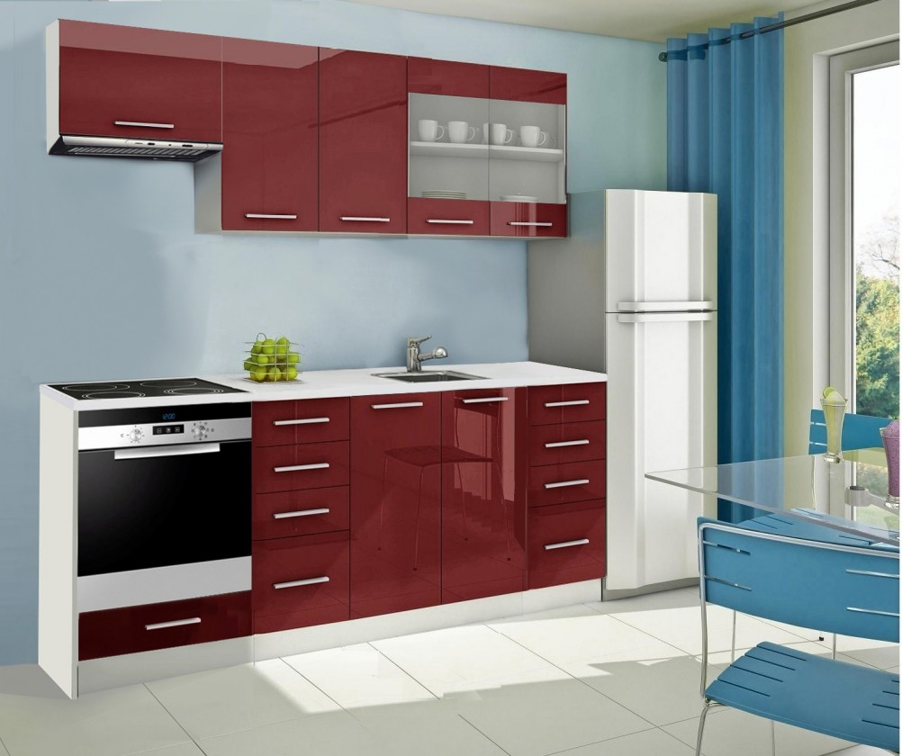 Rovná Mondeo - kuchyňský blok D 220 cm (pracovní deska - mramor)