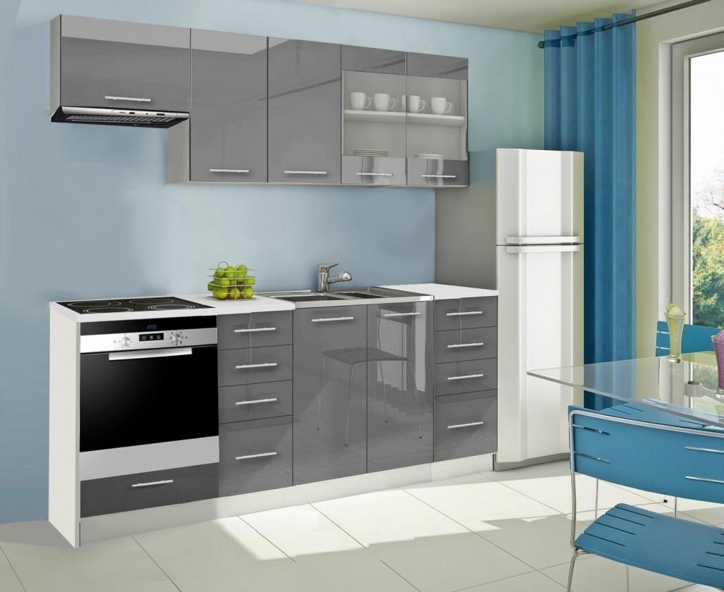 Rovná Mondeo - Kuchyňský blok D, 220 cm (šedá, lesk)