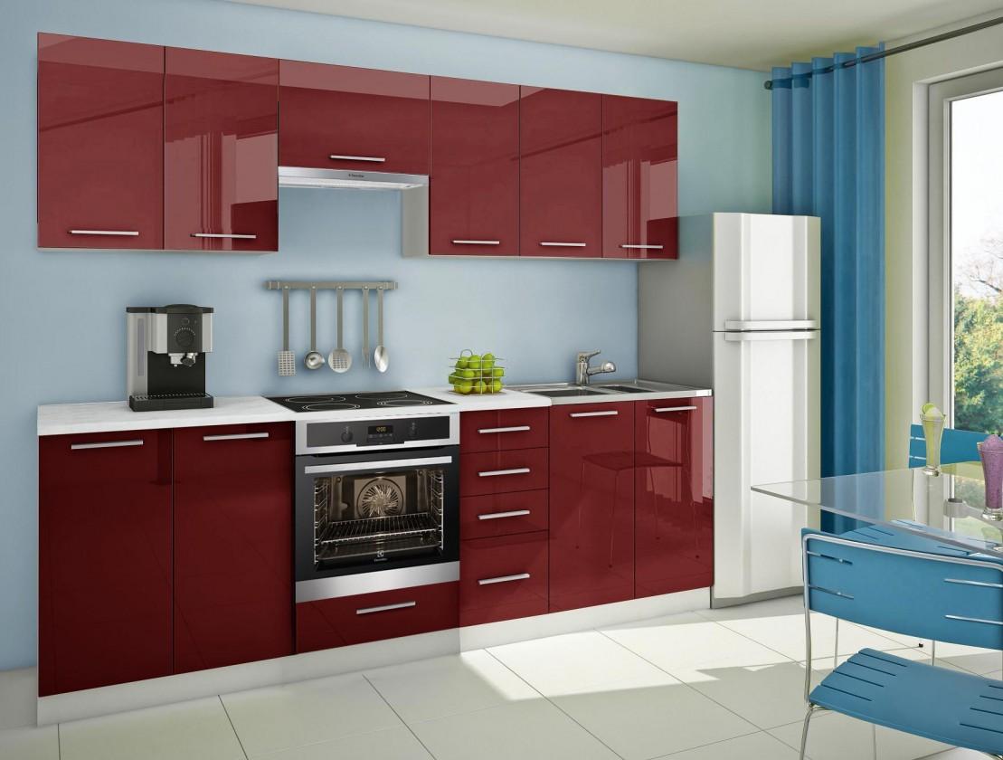 Rovná Mondeo - Kuchyňský blok D, 260 cm (červená, lesk)