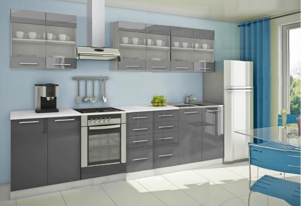 Rovná Mondeo - Kuchyňský blok D, 300 cm (šedá, lesk)