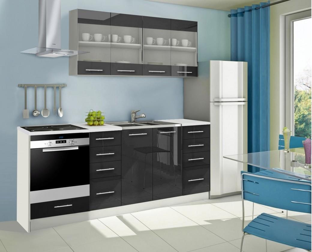 Rovná Mondeo - Kuchyňský blok E, 220 cm (černá, lesk)