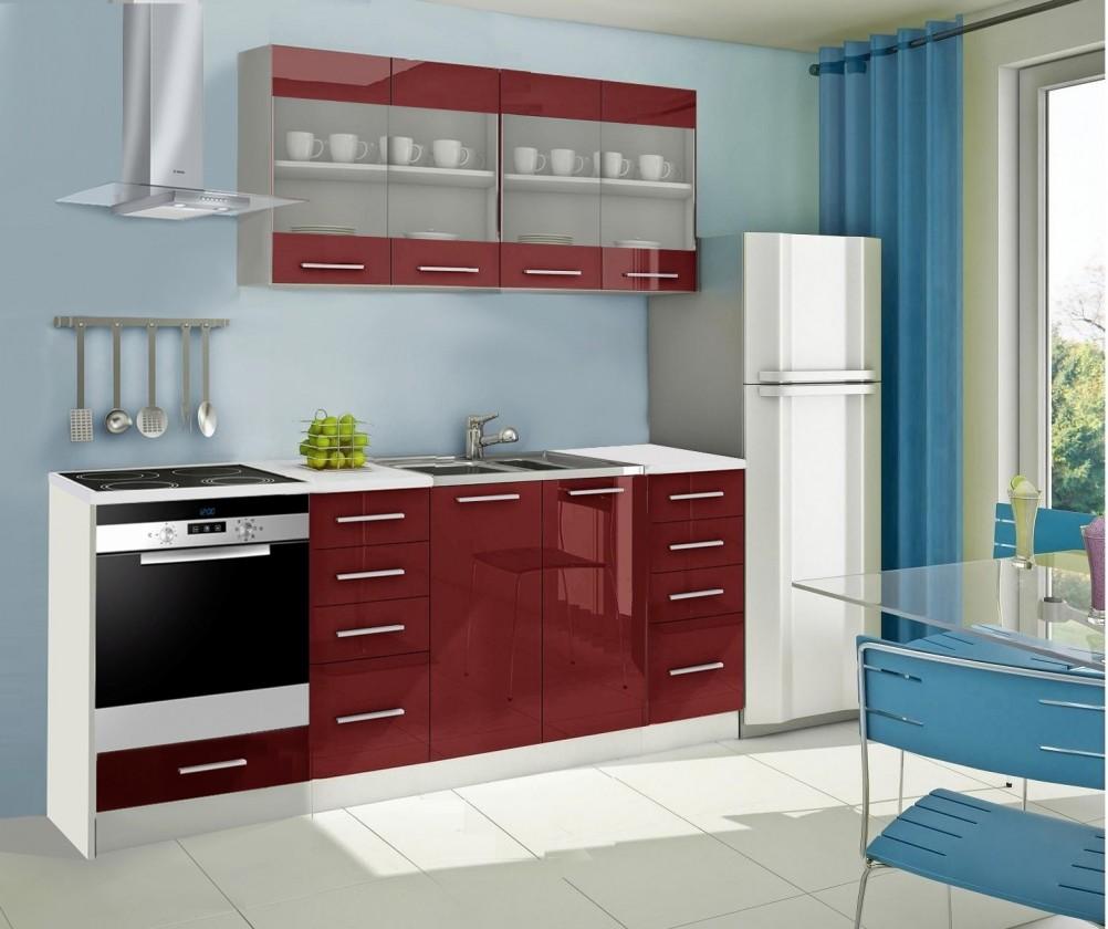 Rovná Mondeo - Kuchyňský blok E, 220 cm (červená, lesk)