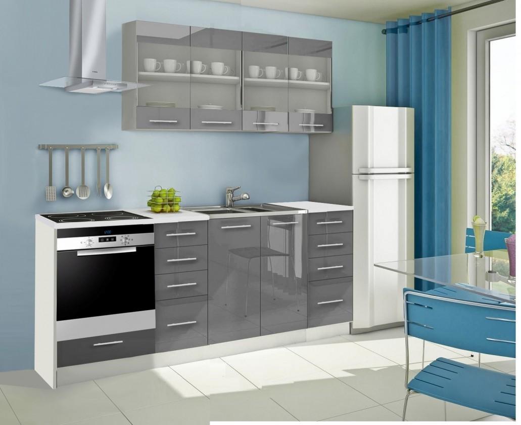 Rovná Mondeo - Kuchyňský blok E, 220 cm (šedá, lesk)
