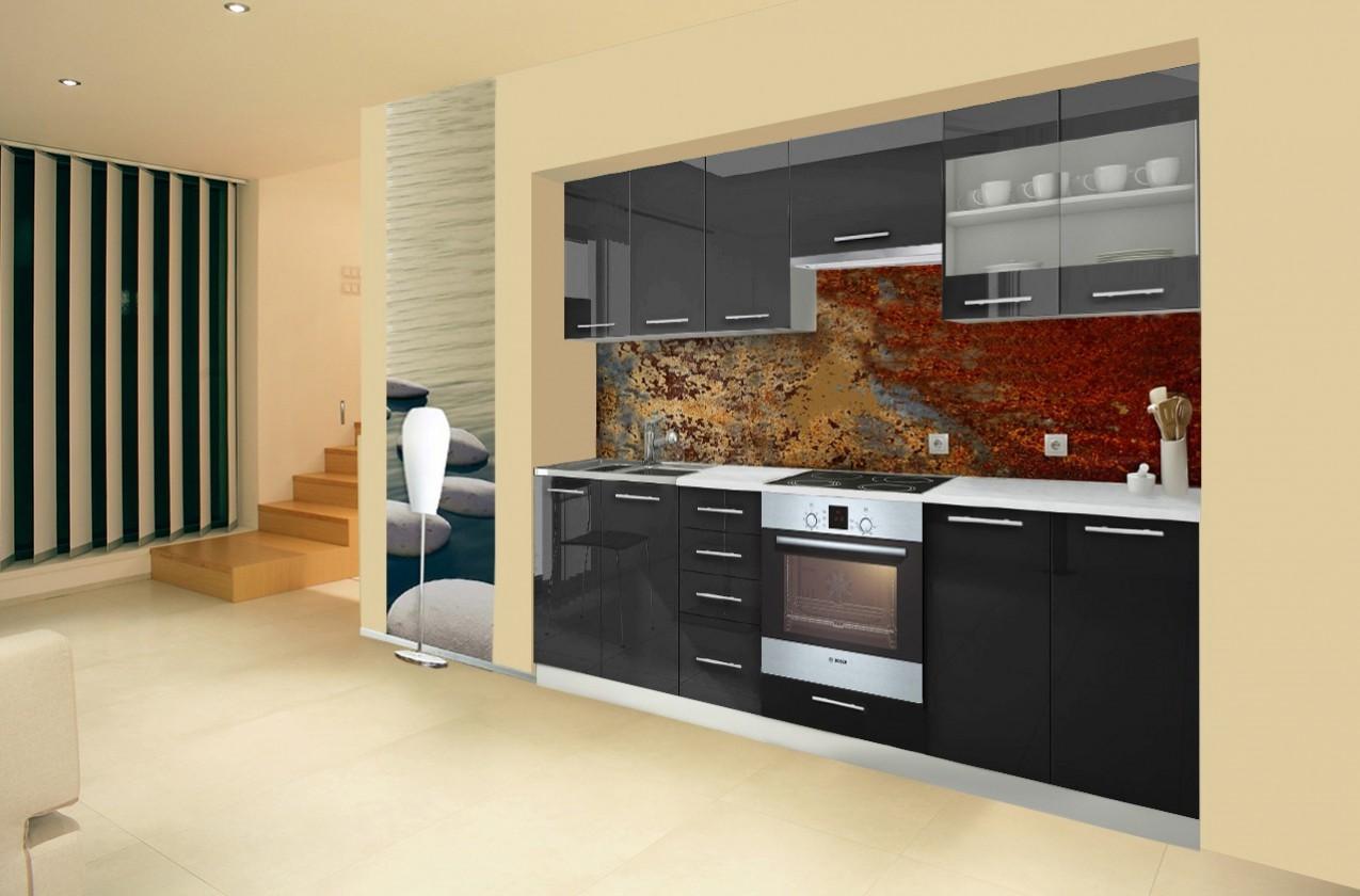 Rovná Mondeo - Kuchyňský blok E, 260 cm (černá, lesk)