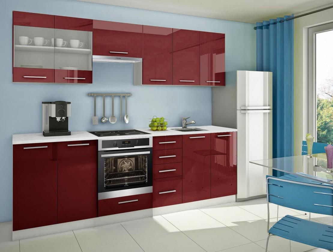 Rovná Mondeo - kuchyňský blok E 260 cm (pracovní deska - mramor)